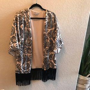 1. State Sequin Fringe Kimono